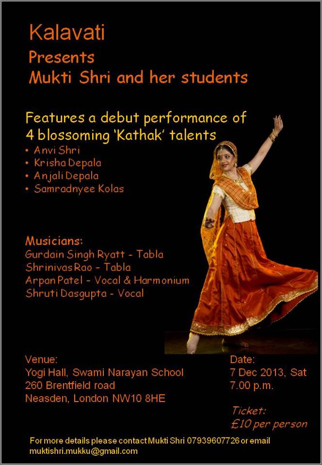 Kalavati @ Yogi Hall, Swami Narayan School | United Kingdom